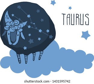 The cute, funny sheep on a cloud surrounded by stars in the image of the zodiac constellation. Taurus. Vector graphics. Taurus