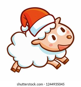 Cute and funny sheep wearing Santa's hat for christmas and running happily - vector.