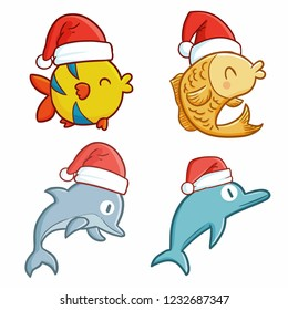 Cute and funny small fish & dolphins wearing Santa's hat for christmas celebration - vector