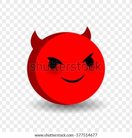 Cute Funny Smile Plotting Devil Face Stock-Vektorgrafik (Lizenzfrei ...