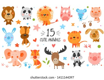 Cute funny smiling animals. Hand drawn kids illustration. Vector background. Pencil texture. Colorful childish drawing. Stars, flowers and footprints.