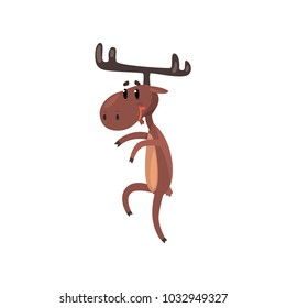 Cute funny smiling deer cartoon character with antlers standing on two legs vector Illustration on a white background