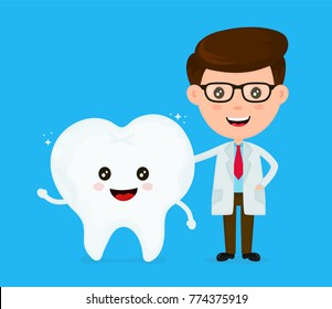 Cute funny smiling dentist and healthy happy tooth.Healthcare,medical,friends,doctor.teeth concept. Vector flat cartoon character icon design. Isolated on white background