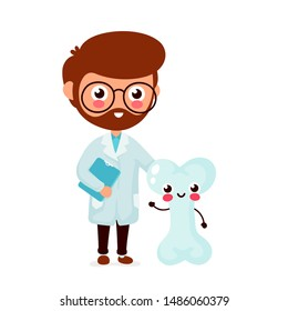 Cute funny smiling doctor and healthy happy bone.Healthcare,medical help. Vector flat cartoon character icon design. Isolated on white background. Doctor and bone friends concept