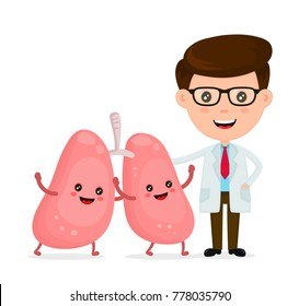 Cute funny smiling doctor and healthy happy lungs.Healthcare,medical,friends,doctor concept. Vector flat cartoon character icon design. Isolated on white background