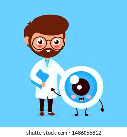 Cute funny smiling doctor oculist and healthy happy eyeball.Healthcare,medical help. Vector flat cartoon character icon design. Isolated on white background. Doctor and eye friends concept