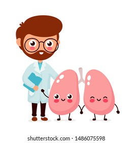 Cute funny smiling doctor pulmonologist and healthy happy lungs. Healthcare, medical help. Vector flat cartoon character icon design. Isolated on white background. Doctor and lungs friends concept