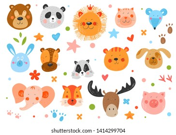 Cute funny smiling faces animals. Hand drawn kids illustration. Vector background. Pencil texture. Colorful childish drawing. Stars, flowers and footprints.