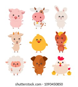 Cute funny smiling happy farm animals set. Vector flat cartoon character illustration icon desgin. Isolated on white background. Pets, farm anumals and birds. Pig,cow,chicken,duck,horse,bunny,goat,dog
