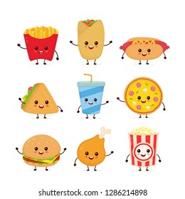 Cute funny smiling happy fast food and snacks set collection.Vector flat cartoon character illustration icon design. Isolated on white background.Burger,pizza,popcorn,burrito,hot dog,fast food concept
