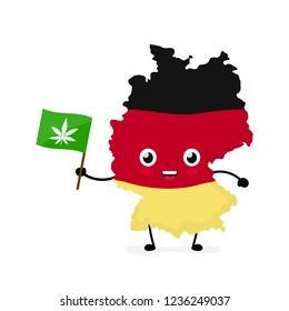 Cute funny smiling happy Germany map and flag character with cannabis marijuana flag. Vector cartoon character illustration icon design. Germany marijuana weed, medical recreational cannabis concept