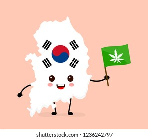 Cute funny smiling happy kawaii South Korea map and flag character with cannabis marijuana flag. Vector cartoon character illustration icon. South Korea marijuana weed, medical cannabis concept