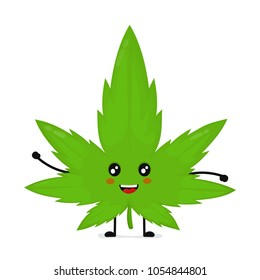 Cute funny smiling happy marijuana weed green leaf face. Vector flat cartoon character illustration kawaii icon design. Isolated on white background.Weed,marijuana,ganja,medical,recreation cannabis