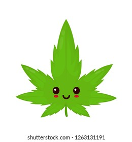 Cute funny smiling happy marijuana weed green leaf face. Vector flat cartoon character illustration icon design. Isolated on white background.Weed, marijuana. ganja, medical and recreation cannabis
