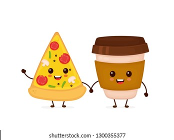 Cute funny smiling happy pizza and coffee paper cup.Vector flat cartoon character illustration icon design. Isolated on white background.Fast food, cafe menu, pizza and coffee paper cup concept