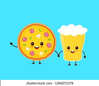 Cute funny smiling happy pizza and glass of beer.Vector flat cartoon character illustration icon design. Fast food, cafe,bar,pub menu, pizza and glass of beer concept