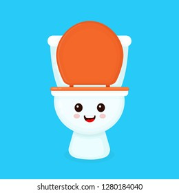 Cute funny smiling happy toilet bowl. Vector flat cartoon character illustration icon design. Isolated on blue background. Toilet bowl concept