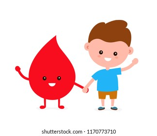 Cute funny smiling happy young boy and drop of blood. Vector flat cartoon character illustration icon design. Isolated on white background. Blood transfusion,donation concept