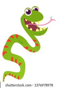 Cute funny snake vector cartoon. Snake illustration isolated on white background