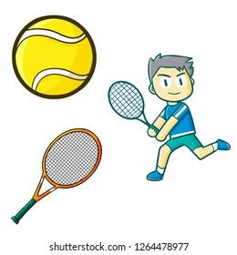 Cute and funny tennis set - vector.