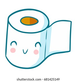 Cute and funny toilet tissue smiling happily - vector.