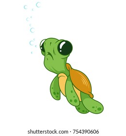Cute funny turtle with bubbles. Cartoon vector illustration.