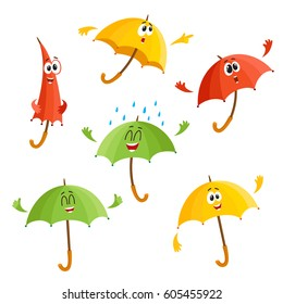 Cute and funny umbrella characters with human face showing different emotions, cartoon vector illustration isolated on white background. Set of umbrella, parasol characters, mascot, design elements