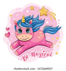 A cute and funny unicorn is flying across the sky. Cartoon and fabulous illustration with a pink little pony, a star and a heart. Romantic story. Wonderland. Vector.