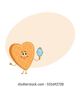 Cute and funny waffle, wafer character looking into handheld mirror, cartoon vector illustration on background with place for text. Funny smiling heart-shaped wafer character with face, arms and legs