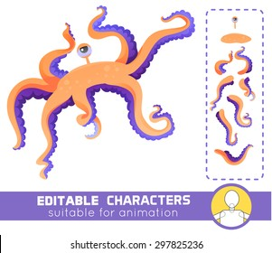 Cute and funny water monster with one eye and many tentacles. Neutral or positive editable character. Suitable for animation, video and games.You can change color, position of body parts and size