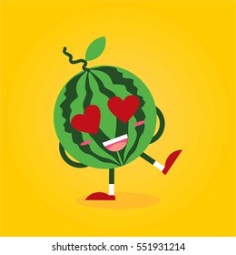 cute and funny watermelon fruit cartoon with various emotion and face in yellow background for kids and children