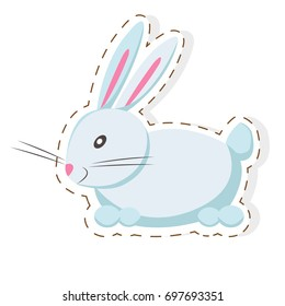 Cute funny white eared rabbit or hare vector flat cartoon sticker or icon outlined with dotted line isolated on white