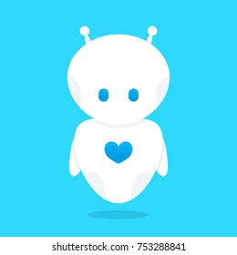 Cute funny white robot bot with blue heart character. Vector flat cartoon illustration icon design. Isolated on white background. Love robot bot concept