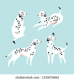 Cute funny white spotted dogs on the blue background. Dalmatian card design. Vector illustration.