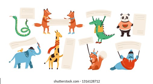 Cute funny wild animals holding empty banners, cards, flags, billboards with place for text. Adorable happy cartoon characters with placards isolated on white background. Flat vector illustration.