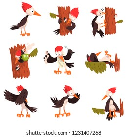 Cute funny woodpecker bird cartoon character in different situations set vector Illustration on a white background
