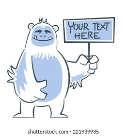 Cute and funny Yeti holding a sign