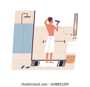 Cute funny young man standing in front of mirror and drying his hair with hairdryer. Happy guy using blow dryer in bathroom. Morning routine, daily procedure. Flat modern cartoon vector illustration.