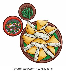 """Cute and funny yummy """"Tahu Isi"""", a traditionl tofu dishes from Jakarta, Indonesia - vector"""