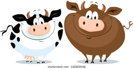Cute Funy Cow Couple Cartoon Vector Illustration