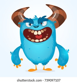 Cute furry blue monster. Vector bigfoot or troll character mascot. Design for children book, holiday decoration, stickers or print
