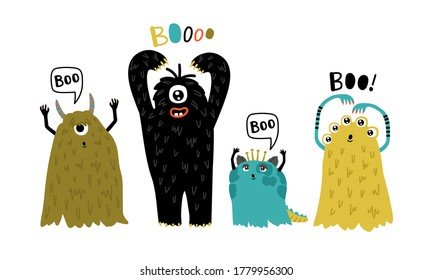 Cute furry creatures. Cartoon funny monsters, humor characters for mascot, vector illustration of little furry symbols of horror isolated on white background