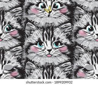 Cute furry kitten face seamless pattern. Vector illustration.