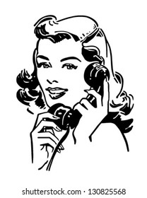 Cute Gal On The Phone - Retro Clip Art Illustration