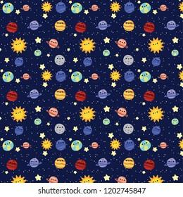 Cute galaxy pattern, solar system vector illustration for kids