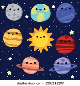 Cute galaxy, space, solar system elements vector illustration for kids