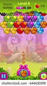 Cute game user interface with colorful bugs. Vector assets for bubble shooter.