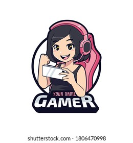 Cute gamer with excited face, Gamer girl cartoon esport logo template