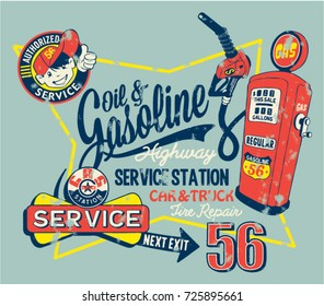 Cute garage gasoline service station, vector vintage print for children wear grunge effect in separate layer