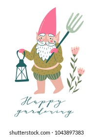 Cute garden gnome with a pitchfork and torch. Vector illustration in hand drawn style with phrase - 'Happy gardening'.